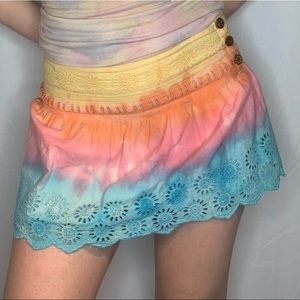 Stacked Rainbow Mini Skirt